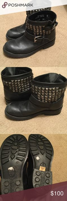 ASH black motorcycle boots -Sz 38 Beyond cool studded ASH black moto boots. Excellent condition and super comfortable. Ash Shoes Ankle Boots & Booties