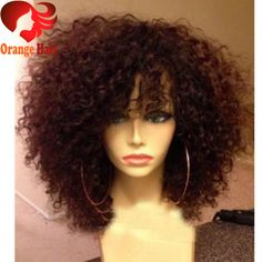 Aliexpress.com : Buy Short Afro Kinky Curly Wig Virgin Brazilian Lace Front Wig Kinky Curly Glueless Human Hair Full Lace Wig With Bangs Baby Hair from Reliable kinky curly natural hair suppliers on Orange Hair Products Co.,Ltd