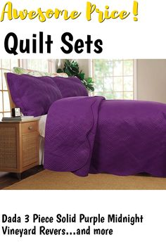 Dada 3 Piece Solid Purple Midnight Vineyard Reversible Bedspread Quilt Set Thin and Lightweight, Queen ... (This is an affiliate link) #quiltsets