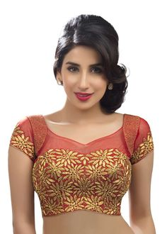 Stunning Embroidered Red Sari Blouse SNT-KP-94-SL