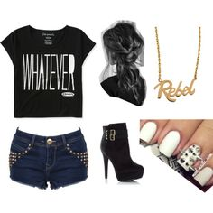 A fashion look from November 2013 featuring crop tee, hot shorts and black booties. Browse and shop related looks. Rebel Outfit, Badass Outfit, Cute Edgy Outfits, Rebel Fashion, Edgy Look, Little Girl Fashion, Polyvore Outfits, Everyday Fashion, What To Wear