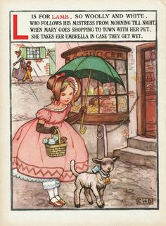"Nursery rhyme 'Mary had a Little Lamb' illustration signed ""E.W.B."", via Etsy."