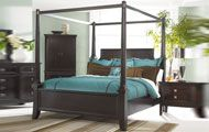 Dark Poster Canopy Bedroom Set with Contemporary Bead Moulding, Martini Suite Collection FROM THEFURNITURE.COM $2565.00