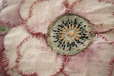 Embroidery Stitches From a vintage pillow. Lovely shading on the flower petals really add to the effect. - vintage pillow at antique show, the petals were all floppy, it was Lovely Embroidery Applique, Embroidery Stitches, Embroidery Patterns, Floral Embroidery, Flower Applique, Sculpture Textile, Textile Art, Bordados E Cia, Fabric Art