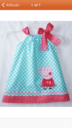 Peppa Pig dress Aqua dot and Hot pink Rachel Foust would love this Baby Kind, My Baby Girl, Sewing For Kids, Baby Sewing, Peppa Pig Dress, Peppa Pig Birthday Outfit, Peppa Pig Outfit, Mode Blog, 2nd Birthday Parties