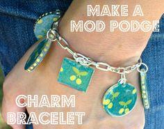 Great gift idea - Mod Podge charm bracelet using fabric and Dimensional Magic.