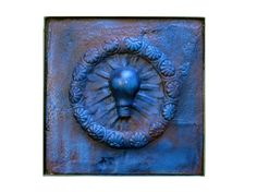 Framed Blue Plaster Wall Relief Sculpture by by scenicartisans