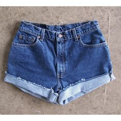 Levis blue jean cut offs high waisted shorts vintage 1990s 100% cotton... ($32) ❤ liked on Polyvore