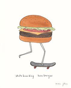 skateboarding hamburger