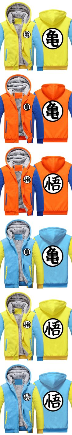 Hot New Anime Dragon ball Thick Hoodie Son Goku Sun Wukong Winter Tracksuit Fleece Mens Zip up Sweatshirts Plus size fast ship 5