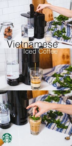 Enjoy Vietnamese Iced Coffee at home with your Verismo® V Brewer. Recipe: Pour 2 tbps sweetened condensed milk into an 8 oz glass, coating the bottom. Brew two Starbucks® Espresso Roast Verismo® Pods over the sweetened condensed milk. Stir to combine the ingredients. Add a scoop of ice and garnish with fresh mint.