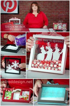 Allred Design Blog: IBP Shadow Box Frames... Clear snowflake one is my fave. Could DIY the frame in blue or white.