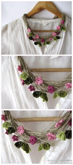 Crocheted flowers on twine / jute necklace.
