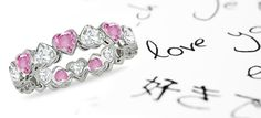 Heart Pink Sapphire & Heart Diamond Eternity Rings