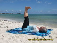 Raised Feet Pose being done on a beach in Playa del Carmen, Mexico. This Yin Yoga pose is a lower back release, a hamstring, ankle and knee opener. Learn more about this simple inversion with many benefits! Yin Yoga Poses, Beach Mat, Mexico, Muscle, Ankle, Simple, Outdoor, Playa Del Carmen, Outdoors