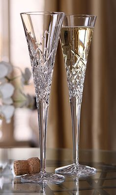 Waterford Wishes Happy Celebrations Flutes, cuts designed to represent the bubbles in champagne.