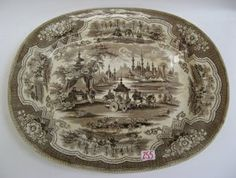 1840 D.M. & S. English Brown Transferware Platter