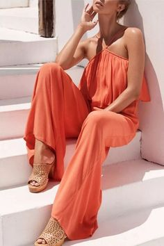 2021 New Spring Fashion Sexy Leisure New Fashion Chest Wrapped Suspender Jumpsuit Loose And Comfortable Women'S Clothing Fashion Pants, New Fashion, Spring Fashion, Fitted Jumpsuit, Jumpsuit Outfit, Clothing Items, Clothing Patterns, England Fashion, Jumpsuits For Women