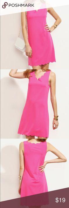 Hot Pink Scalloped Dress Hot pink scallop trim sleeveless dress. Material: 95% Polyester 5% Spandex. 86.5cm long. Dresses Midi