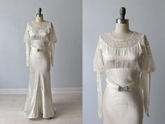 1930s Wedding Dress / Lace and Satin Wedding by TheVintageMistress