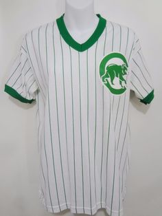 Chicago Cubs Majestic Green White Pinstripe Short-Sleeve T-Shirt Vintage Youth L #Majestic #ChicagoCubs