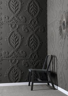 ♅ Dove Gray Home Decor ♅  Possibly textured wall paper into a huge frame?