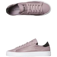 Adidas Originals Courtvantage Shoe (215 BRL) ❤ liked on Polyvore featuring shoes, sneakers, footwear, purple, womens footwear, mesh shoes, stripe shoes, lace up shoes, synthetic shoes and striped shoes