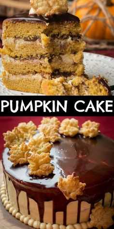 This Moist and Delicious Layered Pumpkin Cake is made with Fluffy Cream Cheese Frosting and a drizzle of Chocolate. The Cream Cheese Frosting has some dulce de leche added, so you know its extra good! Fall Dessert Recipes, Fall Desserts, Fall Recipes, Delicious Desserts, Snack Recipes, Potluck Recipes, Top Recipes, Sweet Desserts, Amazing Recipes