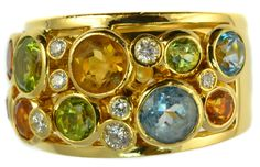 Vintage Multi Gem 18ct Gold Ring by BIGLI set with Diamonds, Peridot, Topaz…