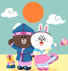 Cony Brown, Brown Bear, Line Cony, Melody Hello Kitty, Bubble Stickers, Cute Love Gif, Bunny And Bear, Cute Love Cartoons, Cartoon Gifs