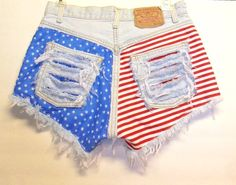 Vintage Levis Denim Shorts Stars n Stripes  with Studs Waist