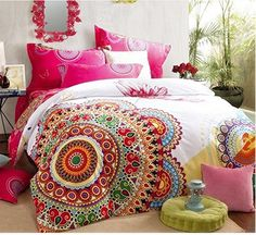 100% Cotton Boho Duvet Cover Sheet Pillowcases Set of 4 Queen Soft Bed Free Ship #FADFAY