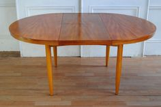Retro Mid Century Aust Frank CHATLEY Extension Teak Dining Table, Preston c 1970's. Mid-century butterfly extension table in great condition. Fabricated in teak veneer with a solid teak apron and turned legs. Some fading differences bet leaves and circular top. All in excellent order for age. ($375)