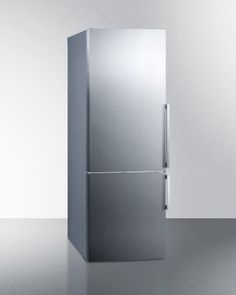 Summit FFBF286SSLHD 28 Inch Bottom Freezer Refrigerator with 16.8 cu. ft. Capacity, 3 Adjustable Glass Shelves, Wine Rack, Adjustable Door Bins, Produce Drawer, 3 Freezer Drawers, Digital Thermostat and ENERGY STAR Certified: Left Hinge Door Swing, No Ice Maker