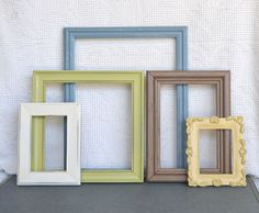 slate blue green yellow brown heirloom white modern ornate frames set of 5 upcycled painted frames great for gallery wall modern decor - Slate Blue Living Room Ideas