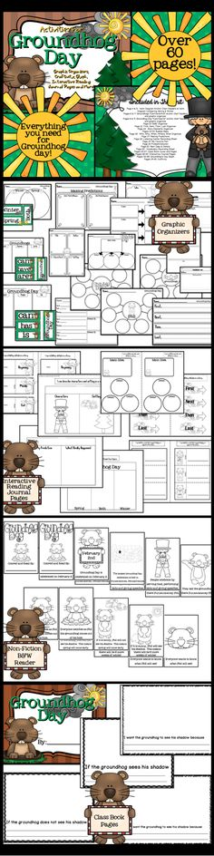 Groundhog's Day activities... graphic organizers, interactive reading journal pages, class book with cover, craftivity, glyph, and non-fiction black and white reader.  $