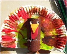 Paper plate turkey craft for Thanksgiving craft decorations
