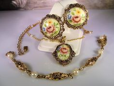 1980s, 1928 Company Jewelry Set,Glass Cameo Necklace,Glass Cameo Earrings,Gold Filigree Bracelet,Faux Pearl Jewelry Set,Vintage Jewelry Set by CarolsVintageJewelry on Etsy