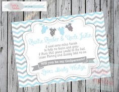 Godparent request card Baby Boy
