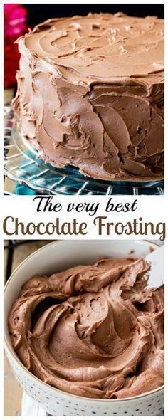 """This is my all-time favorite chocolate frosting recipe, and I think that once you try it it'll be yours, too! This is a simple chocolate frosting that needs just 6 ingredients -- it will easily frost a 2 layer 8"""" or 9"""" cake or generously ice a dozen cupcakes!"""