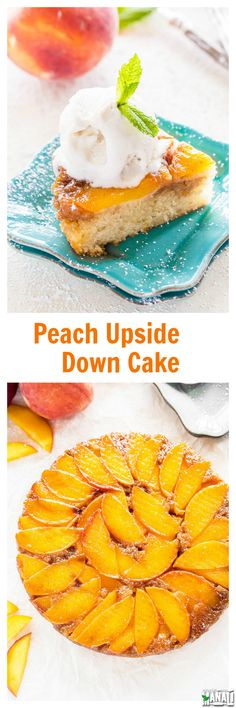 Simple & moist Peach Upside Down Cake with fresh juicy peaches. This summer dessert is best enjoyed with some vanilla ice cream on top! Find the recipe on www.cookwithmanali.com