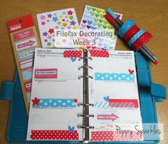 Filofax Decorating Week 3 - turquoise blue and red for week 3 at Poppy Sparkles