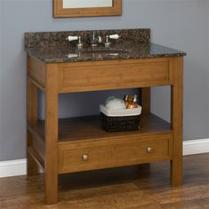 """36"""" Milforde Collection Bamboo Console Vanity Cabinet with Hammered Copper Sink $1100"""