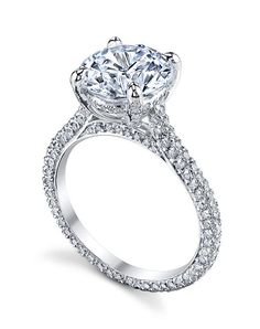 Signature Michael Pave Micro pave setting style on the shank and in the underbasket | Michael B. | https://www.theknot.com/fashion/paris-ring-michael-b-engagement-ring