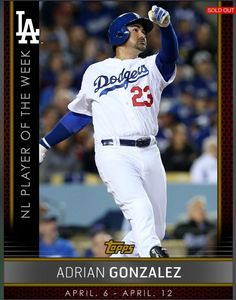 Adrian Gonzalez Player of The Week Topps Bunt 2015 Digital Card | With a modern twist now, I get back into collecting and this is one of my favorite cards to look at right now...