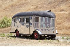 A 1939 Lindbergh Travel Trailer, designed in San Carlos, California, by an engineer of the Sir Francis Drake Hotel. This trailer was custom-built for famous aviator Charles Lindbergh, hence its name.