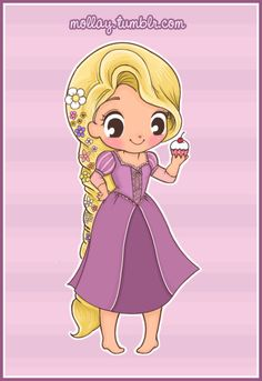 Chibi Rapunzel with Cupcake Disney Cast, Twisted Disney, Disney Magic, Cute Disney Drawings, Disney Princess Drawings, Disney Princess Cartoons, Princesa Rapunzel Disney, Disney Princess Babies, Disney Animation