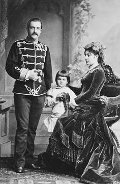 King Milan I of Serbia with his wife Natalie and their son, the future king Alexander I,