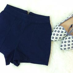 Navy Blue Shorts High waisted shorts with exposed gold zipper on the back. Shorts