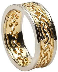 Celtic Knot Filigree Wedding Band with Rims